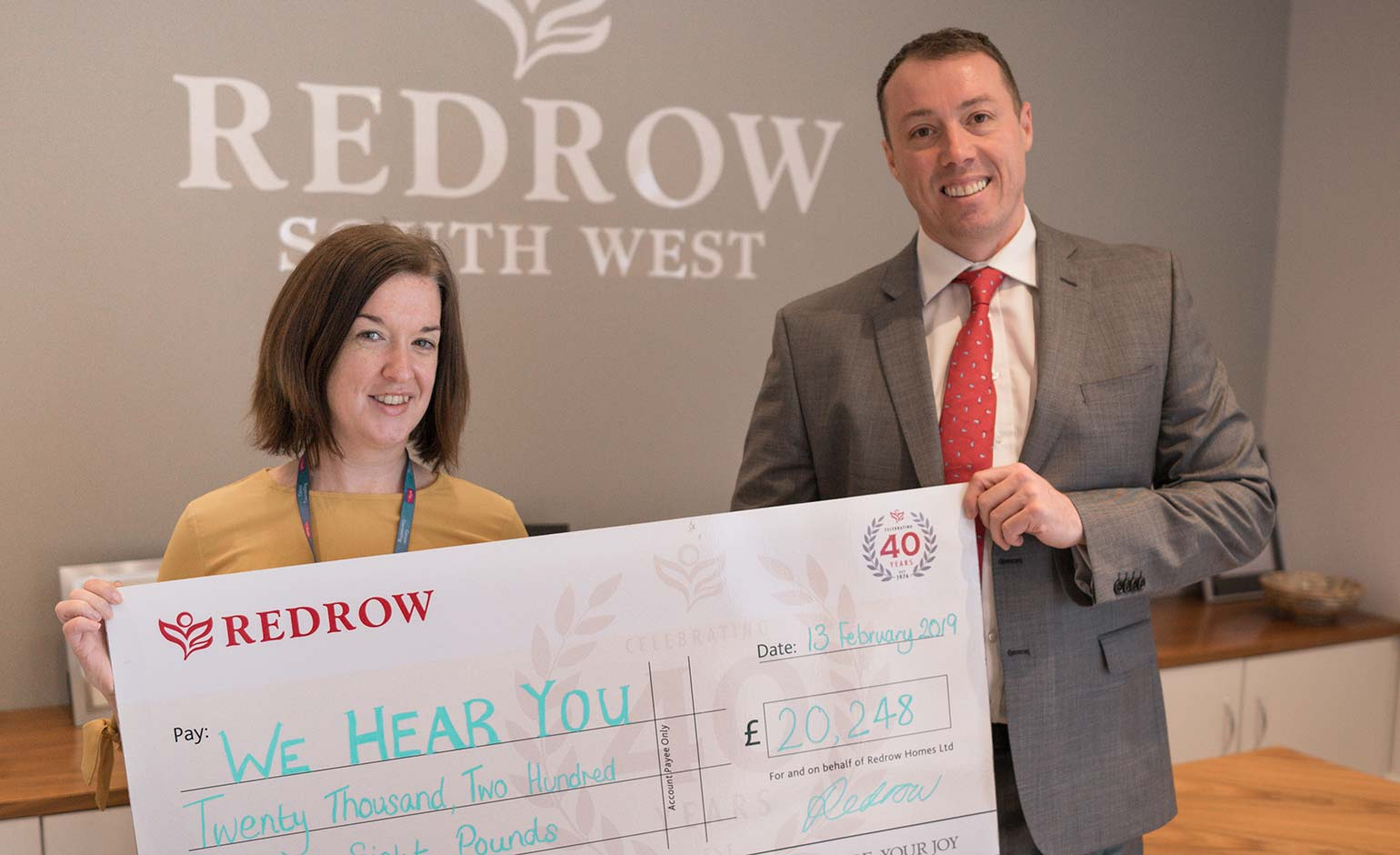Over £20k donated to We Hear You charity by housebuilder Redrow Homes