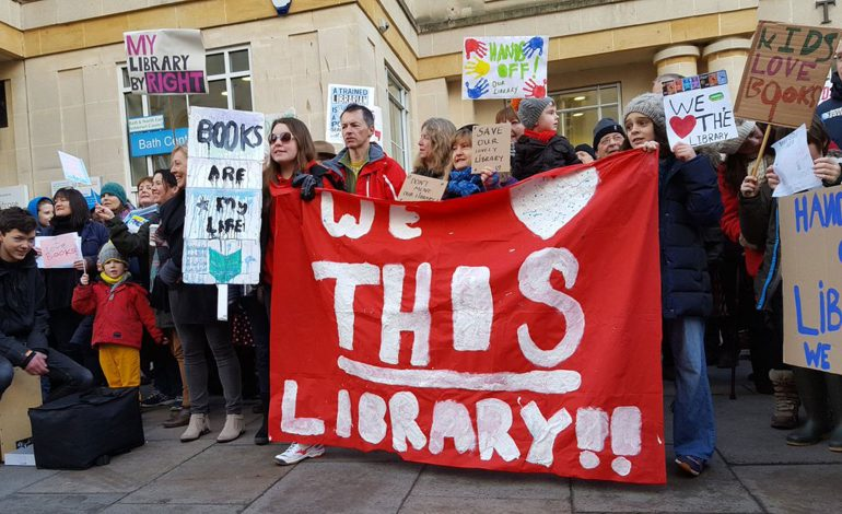 Protestors outside the Bath Central Library