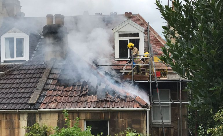 Multiple fire crews tackle second floor blaze at house on Wells Road in Bath