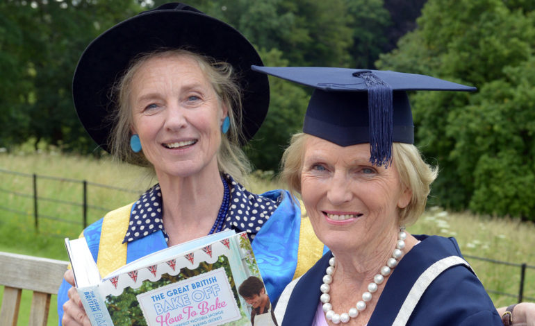 Former Vice-Chancellor Christina Slade with Mary Berry