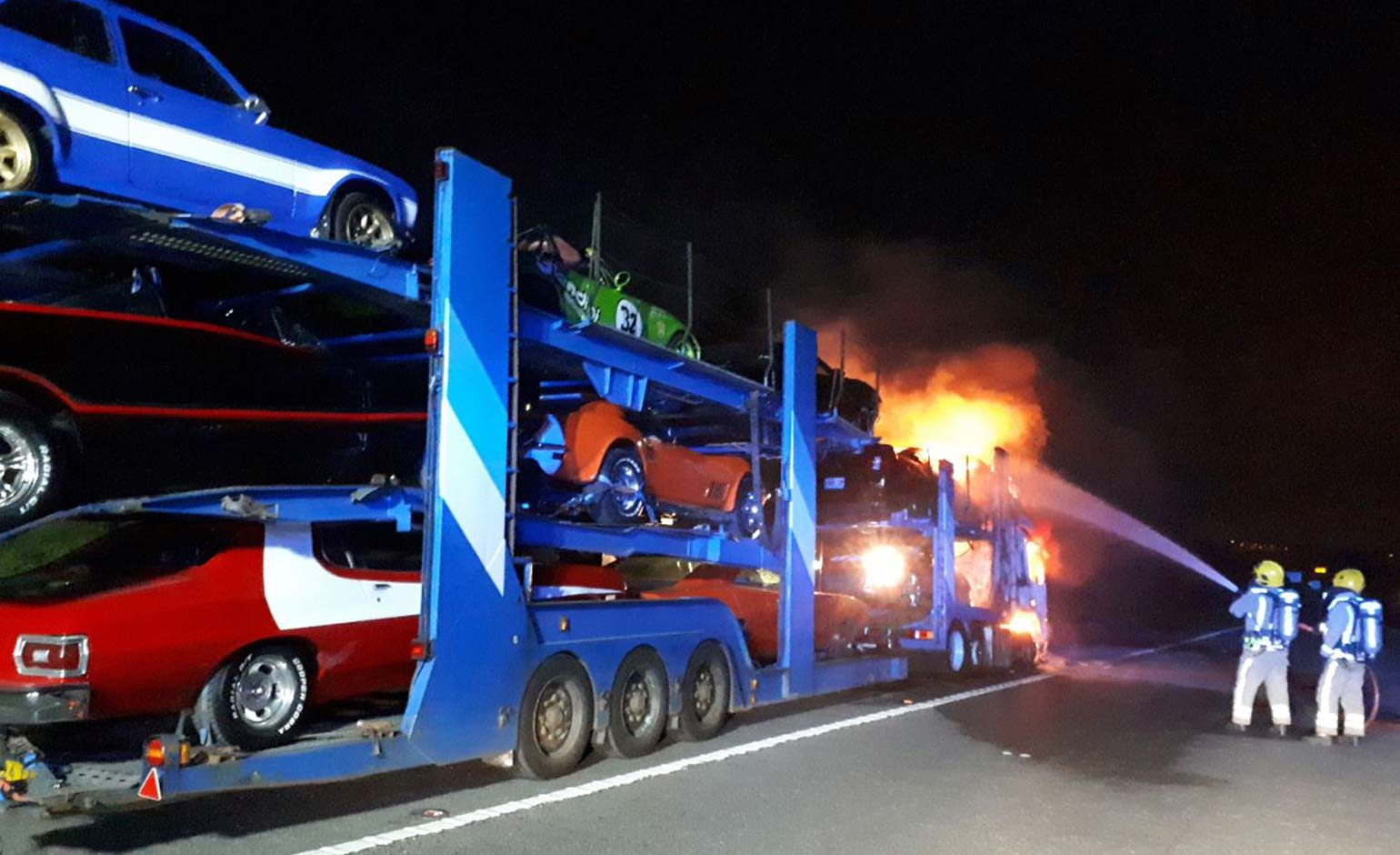 Car transporter fire m4 today
