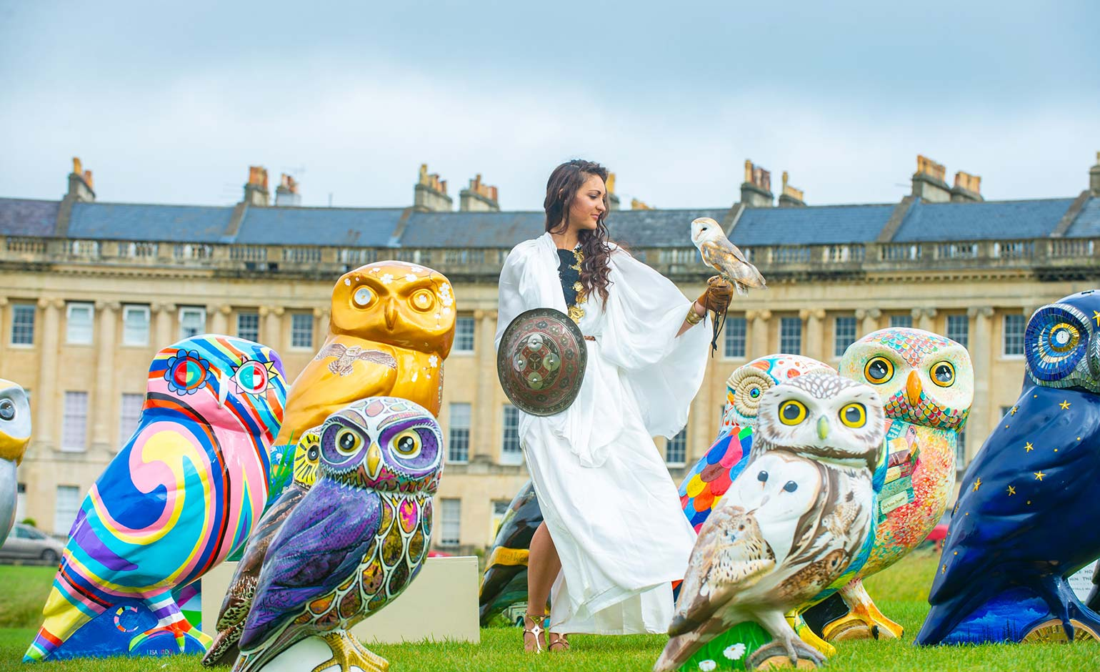 Thirty giant owl sculptures swoop onto Bath's world famous Royal Crescent