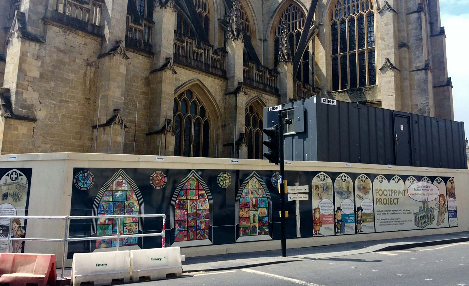Eye-catching artworks help transform construction hoardings at Bath Abbey