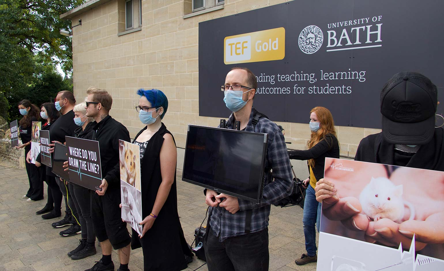Animal justice campaigners protest at University of Bath Open Day event