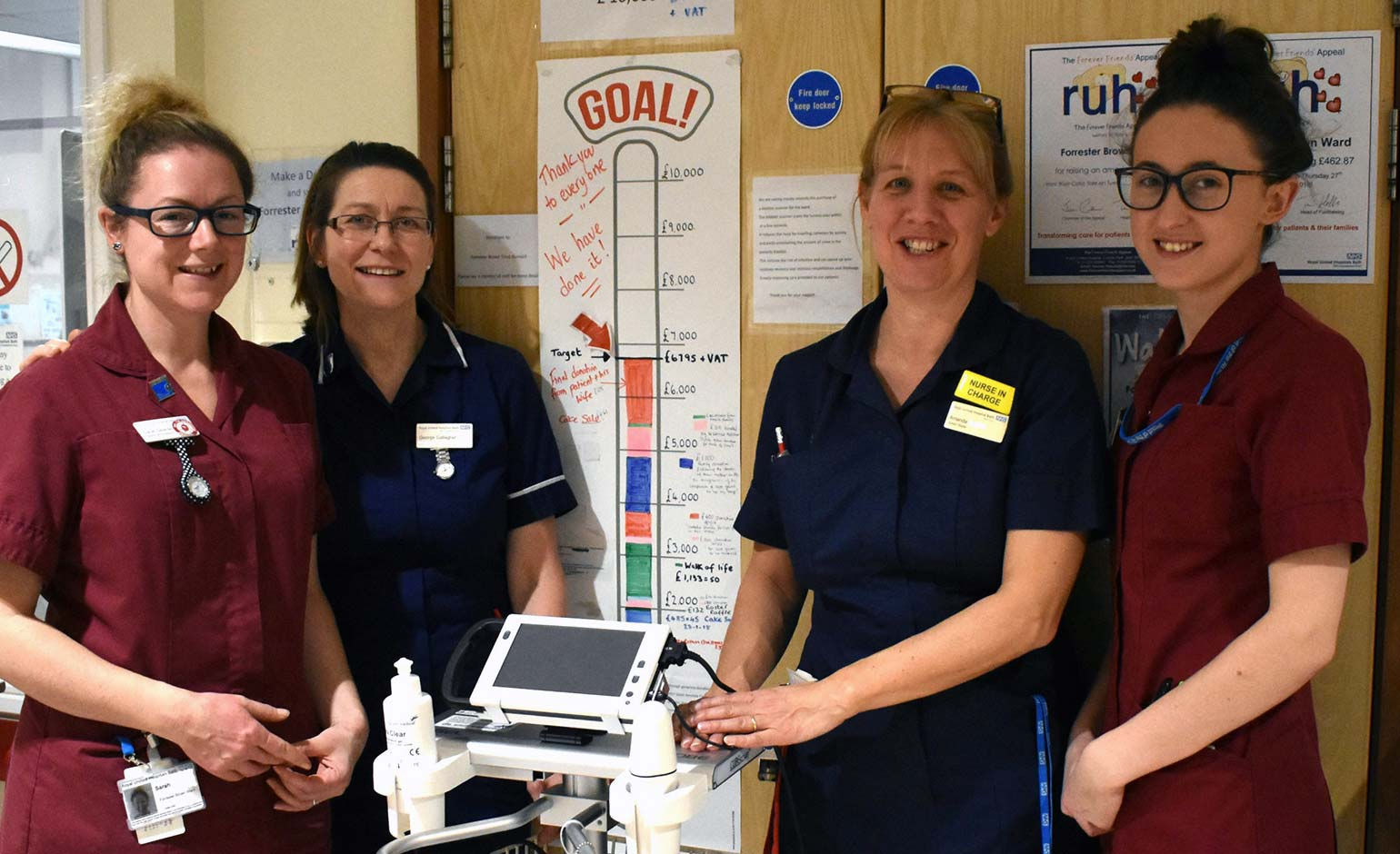 Staff at the RUH in Bath thank supporters for donations towards new scanner