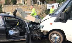Woman trapped following minibus crash at Two Headed Man junction on A39