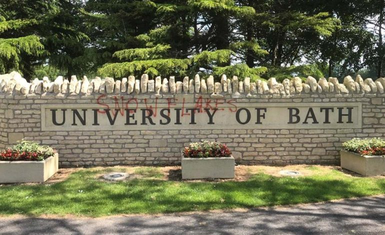 University of Bath 'disappointed' after 'snowflakes' graffitied on entrance sign