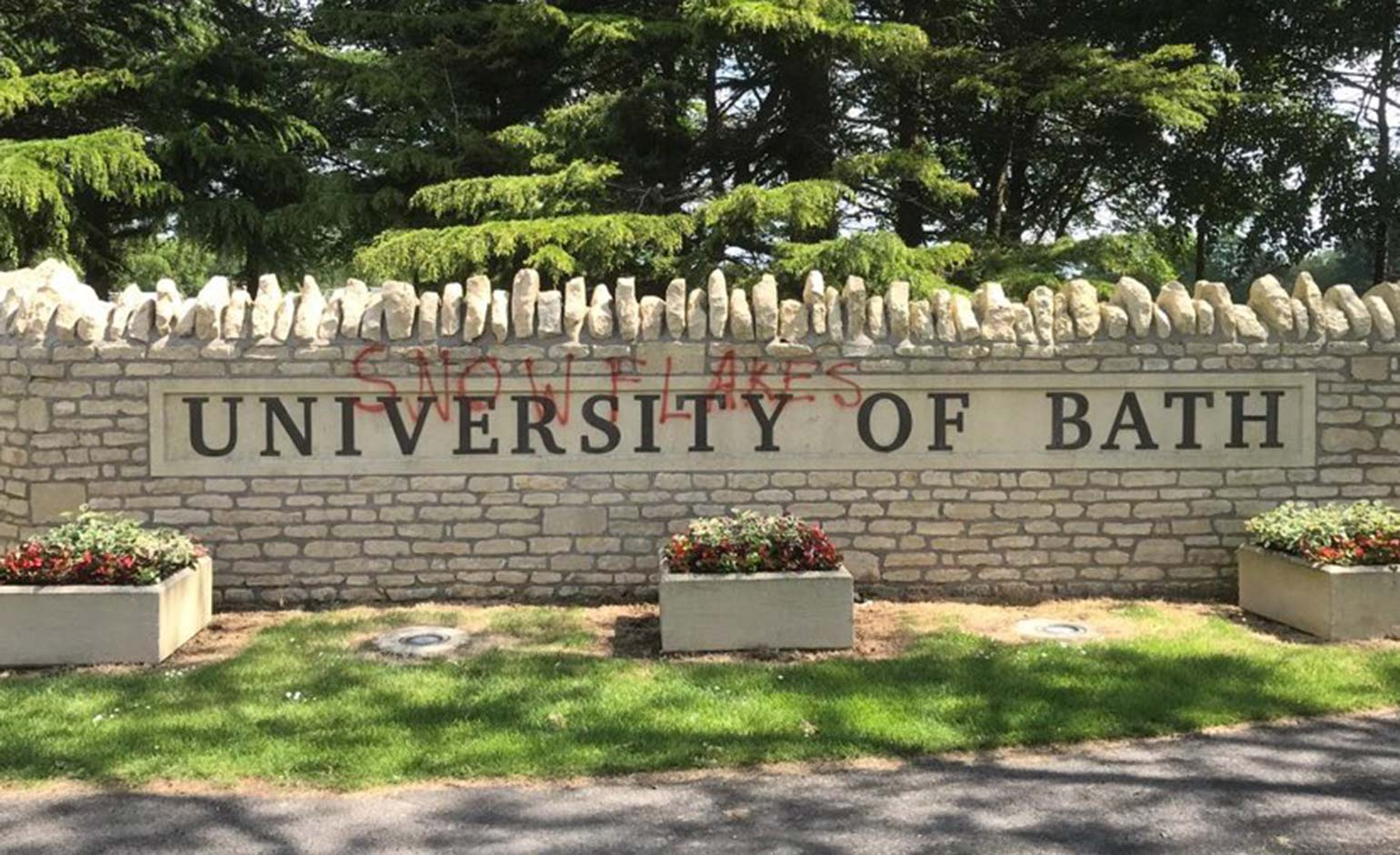 University of Bath 'disappointed' after 'snowflakes' graffitied on entrance sign | Bath Echo