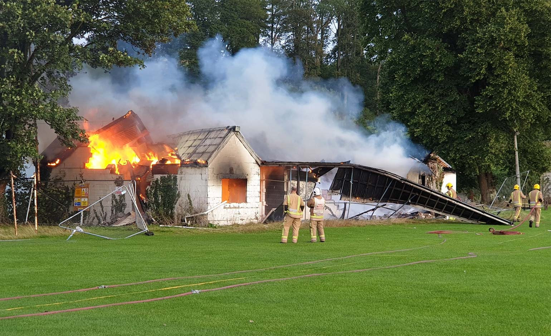 Former cricket pavilion destroyed as fire crews tackle second blaze in ten days