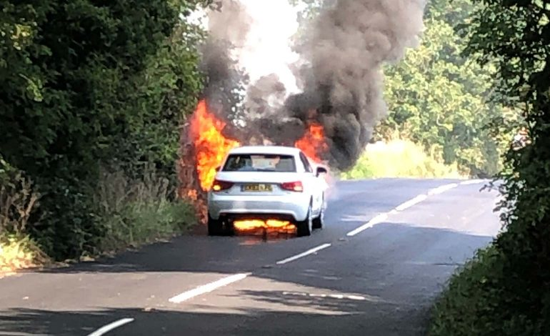 Audi destroyed as firefighters tackle vehicle blaze on Lansdown Lane