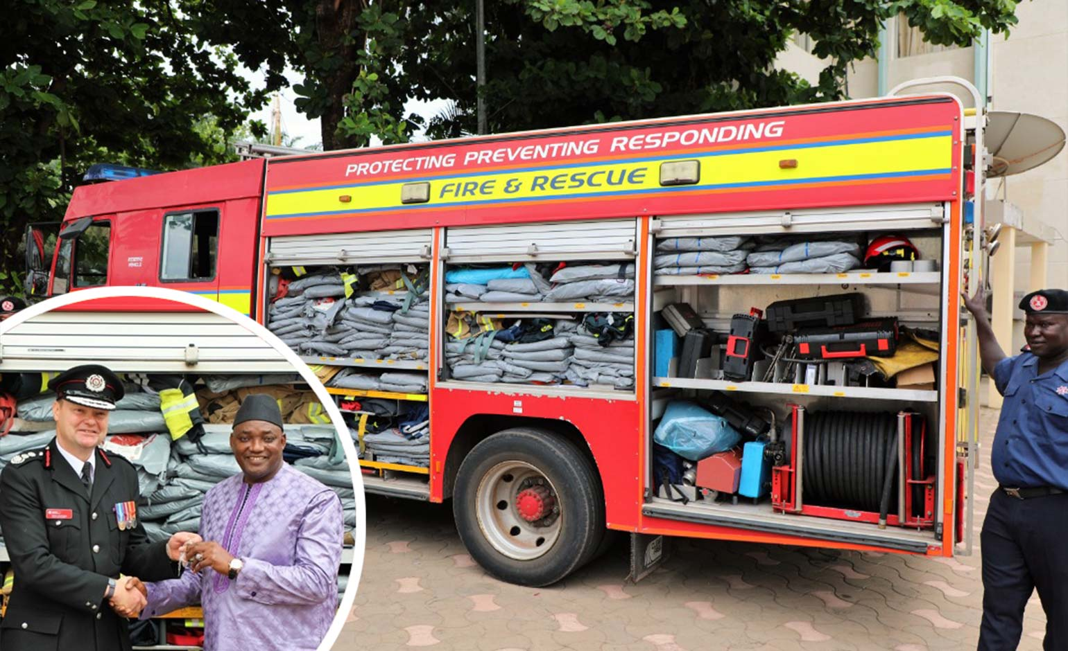 Avon Fire & Rescue Service delivers three trucks and equipment to Gambia | Bath Echo