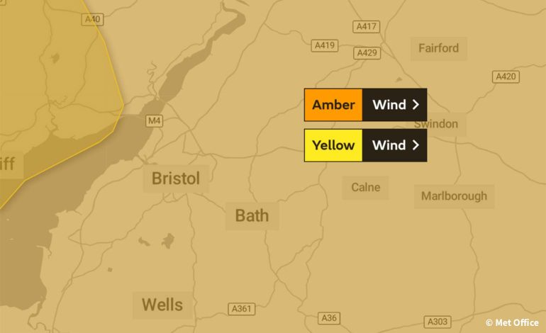 Met Office issues amber weather warning for strong winds across Bath